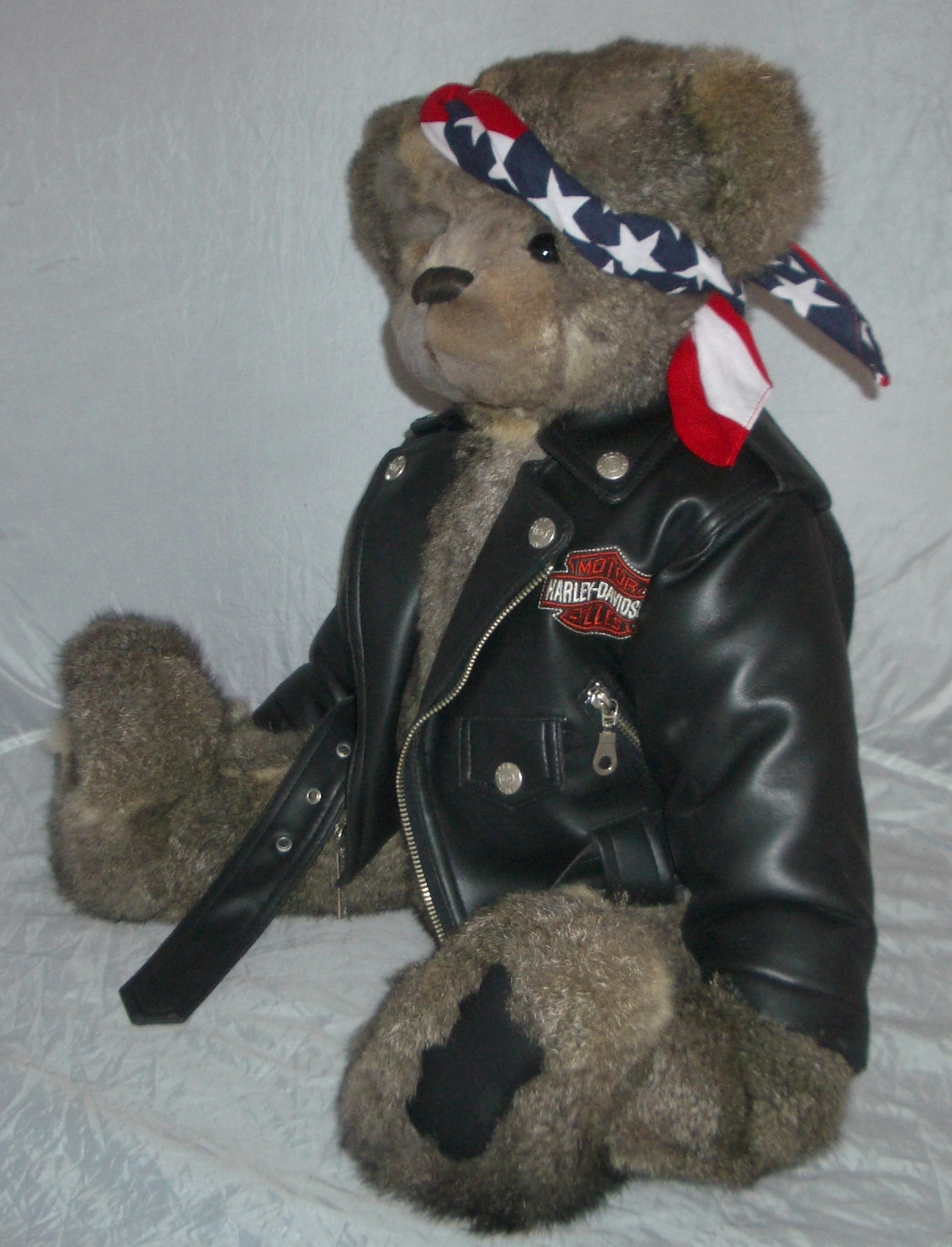 He is a VERY hearty 5-pound 25 rough-and-tumble bear who loves to ride. He wears his Harley-Davidson jacket with great pride